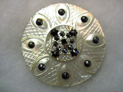Beautiful Antique Carved Pearl/ Cut Steel/ Stacked Pearl Buttons