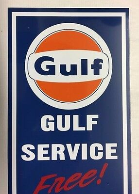 "Vintage,Gulf,Free,Air,Blue,Aluminum Sign,approx.6"" X 21"""