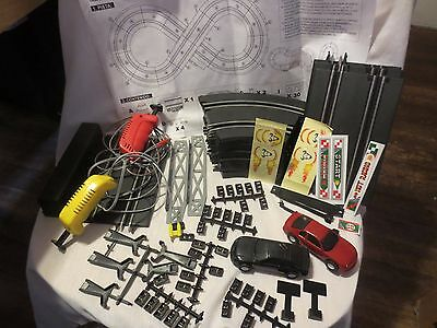 Artin Fast Lane Racing Speedway Slot Car Track and Accessories Lot w/ Cars 1/43