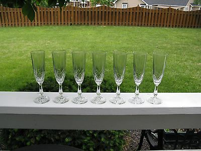 Seven Anchor Hocking Clear Canfield (Diamond Design) Champagne Flutes In EC!