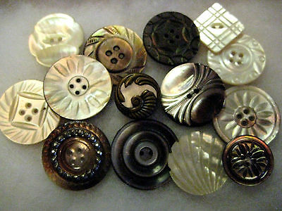 Pretty Lot Antique Carved Pearl Buttons/ One Stud/ Metal Accent