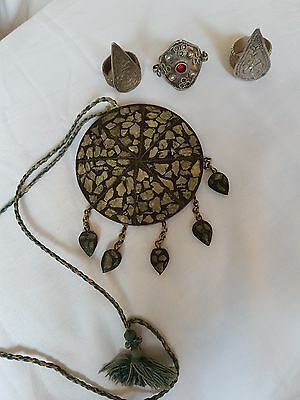 vintage Tribal pendant and 3 silver tribal rings