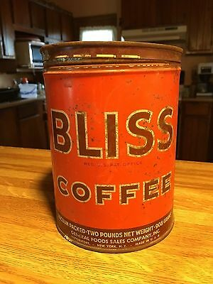 Bliss 2lb Coffee tin  Rare made in one City Key open  NO RESERVE