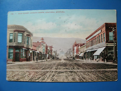 1908, Old West Street Scene, Main St, Anaconda Montana 1908 Pm Antique Postcard