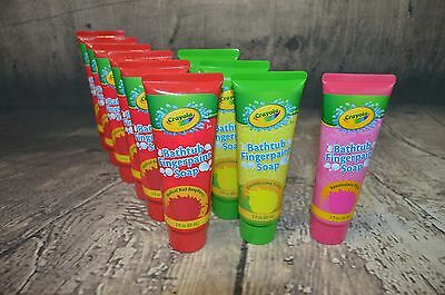 CRAYOLA BATHTUB FINGERPAINT SOAP TUBES 6-RED 1-Pink 3-Lime GREEN NEW*
