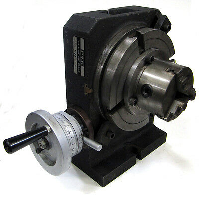 """8"""" Diameter T-Slotted HORIZONTAL / VERTICAL ROTARY TABLE w/ 3-Jaw Chuck"""