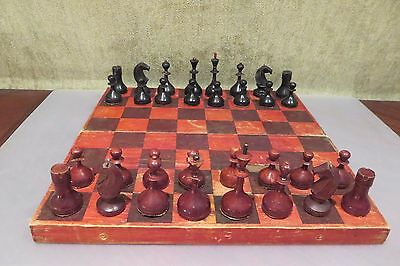 Vintage 1953 USSR СССР Soviet Wooden Chess Set with board