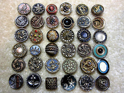 Collection Of Small Antique/ Victorian Era Metal Buttons