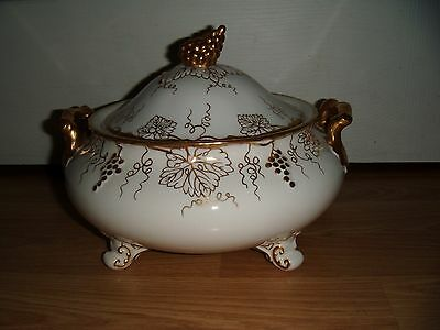 Large Royal Crown Derby Vine Tureen ~ White ~ 1st Quality ~ Very Good ~ RARE
