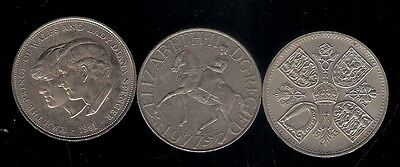 3 CROWN 25p 5 Shilling 1953 Coronation /1977 Silver Jubilee / 1981 Royal Wedding