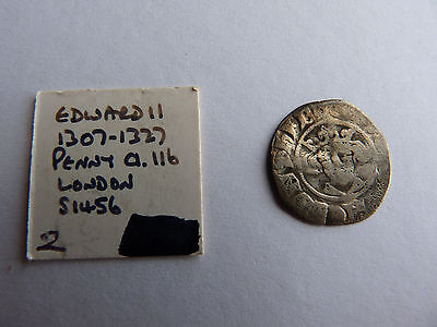 (2/6) Edward 2nd Silver Hammered Penny 1307-1327 London Mint