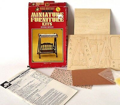 Dollhouse miniature DIY swing bench kit Miniature furniture 1:16 wood boutique