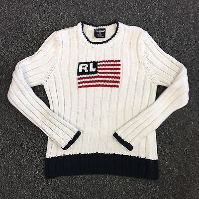 "Vtg RALPH LAUREN POLO JEANS CO Flag Knit Cable Sweater (KIDS L - 23"" long)"