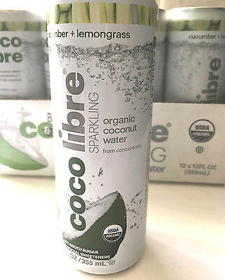 Coco Libre Sparkling Organic Coconut Water Cucumber & Lemongrass 12oz case of 12