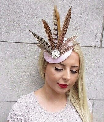 Light Blush Pink Pheasant Statement Feather Fascinator Pillbox Races Hat 3167