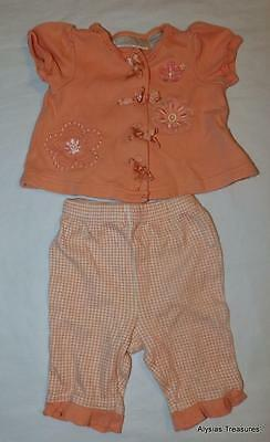 Infant Baby Girls 0 / 3 Months Peach Snap Up Top & Pants Cotton Outfit CLEARANCE