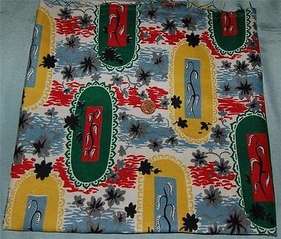 """Remnant Vintage Cotton Fabric 25"""" x 47"""" Retro Abstract Design VW Camper c1950s"""