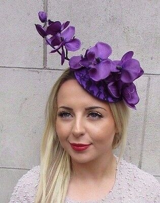 Dark Purple Orchid Flower Fascinator Hat Hair Clip Races Wedding Vintage 3169