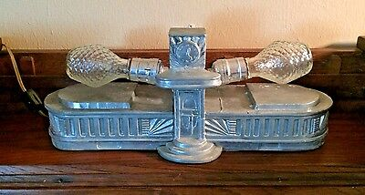 Vintage Art Deco 2 Light Lamp Light Fixture Polished Cast Aluminum Ornate & Rare
