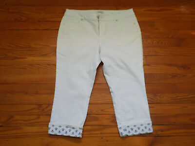 Coldwater Creek Women's Size 14 Cream White Natural Fit Cropped Capri Pants