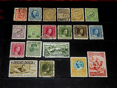Luxembourg stamps - 19 mint hinged & used stamps - early years !!
