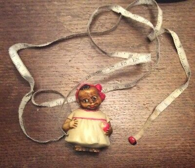 Early 1900's Vintage Celluloid Sewing Tape Measure Black Girl And Ladybug
