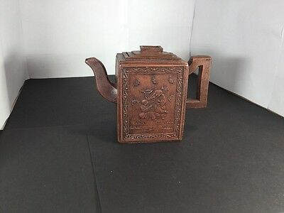 Chinese Yixing Rectangular Teapot With Figurine Playing Instruments 20th Century
