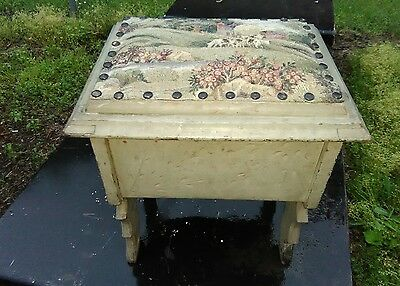 Antique Eastlake Footstool Stool Flip Top Chip Carved Nailheads Cows Farm