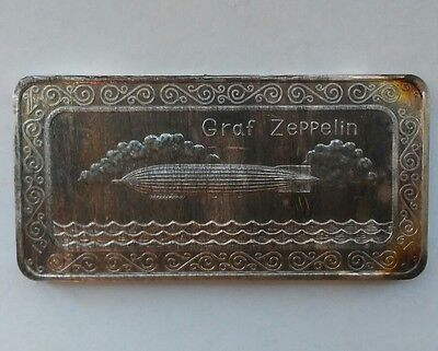 GRAF ZEPPELIN - ONE MINT 1 TROY OZ .999 FINE SILVER ART BAR Only 2500 Made