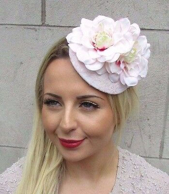 Light Blush Pink Flower Fascinator Rose Races Wedding Pillbox Hat Clip Hair 3173