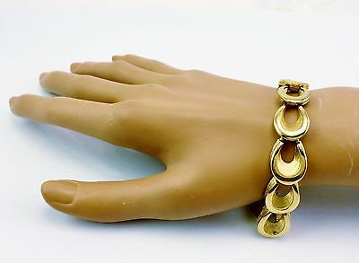 Vintage Signed Crown Trifari Gold Tone Bracelet 1960's Era Great Deal Designer