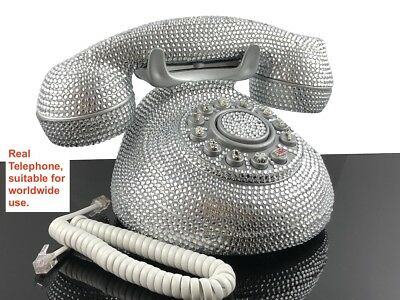 BlingUstyle new Sliver crystal retro design home phone for home office and gift