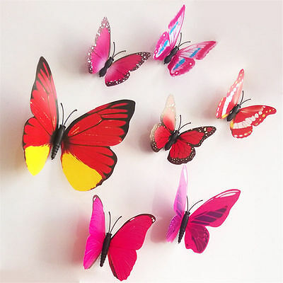3D Butterfly Wall Sticker DIY Home Decor Art Room Decal Decoration ROSE