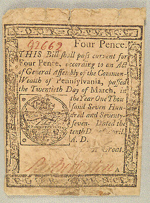 """1777 """"four Pence"""" Colonial Currency"""