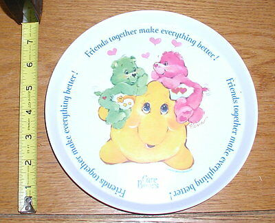 "VINTAGE 1980s Care Bears Melamine Plastic Friends Together 8"" Plate Silite Inc"