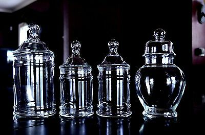 Lot of 4-Glass Apothecary Or Candy Jars Wedding Buffet Jars Displays