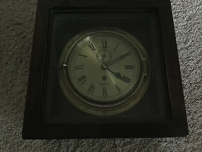 Antique Sestrel Brass Ship Clock With Key