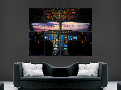 Boeing Airbus Cockpit Aeroplane  Huge Large Wall Art Poster Picture