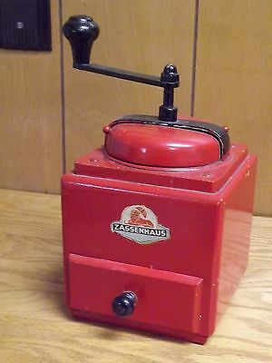 Vintage German Zassenhaus Wood & Cast Iron Hand Crank Coffee Grinder - Red