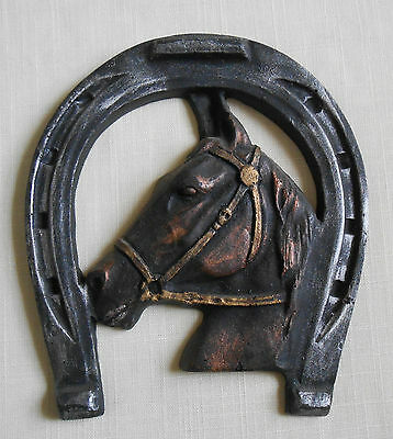 Horseshoe with Horse Head Handcrafted from Coal Wall Plaque