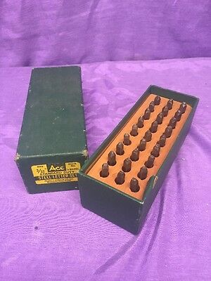 "Vintage Hanson ACE Steel Stamp & Die 3/16"" Letters Lettering 27 Pc Set W Case"