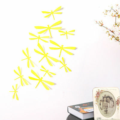 12pcs 3D Dragonfly Mirror Stickers Wall Decal Home Room DIY Art Decor yellow