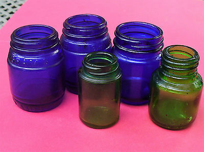 5 Old Cobalt Blue & Green Jars