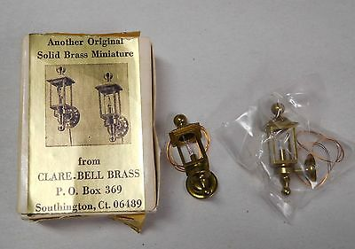 Vintage Pair Clare-Bell Miniature Brass Coach Lights 1:12 Electrified Dollhouse