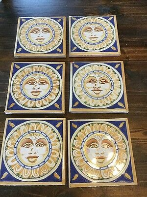 "6 Mexican Tiles Sun   6"" Colorful  Tiles"