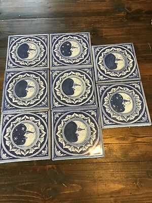 "8 Mexican Tile Moon  6"" Colorful Painted Tiles"