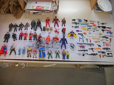 Lot Of Action Figures And Weapons Army Superman Toy Jurasic Park Turtles 100 Pcs