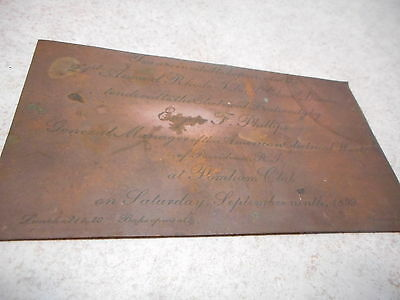 Copper Engraved Printing Press Plate, Rhode Island Clam Dinner 1899, Electrician