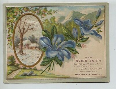 Large Victorian Trade Card Acme Soap Lautz Brothers Buffalo New York