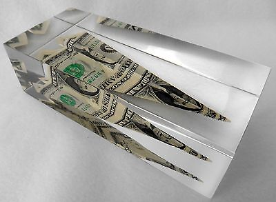 Lucite Paperweight Folded Dollar Airplane Plane Acrylic $1 Currency Vintage RARE